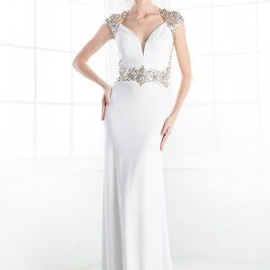 V-Neckline Cap Sleeve Wedding Dress CD8901